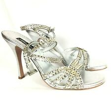 Claudio Milano Leather Sandal Silver Crystal Size 41 Italy #290