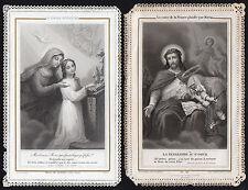LOT DE 2 IMAGE PIEUSE / CANIVET DENTELLE - LETAILLE - XIX° HOLY CARD SANTINO (4)