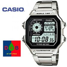 Genuine Casio AE-1200WHD Men's Digital Silver Stainless Bracelet Watch RRP£44.99