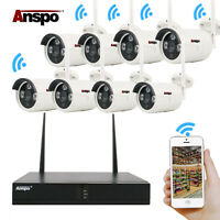 New 4/8CH 1080P HD Wireless Security Camera System CCTV WIFI Kit NVR Outdoor