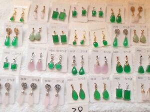 Joblot of 28 Pairs real jade dangly Earrings mixed sizes  - NEW wholesale