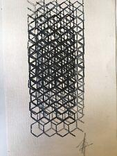 Belle Peinture Sur Papier Signé Art Abstrait abstraction Circa 1970 Géométrique