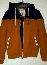 SoulCal & Co Navy Tan Brown Mens Hooded Jacket Multiple Pockets LARGE Zip