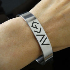 God is Greater Than the Highs and Lows - Symbols Cuff Bracelet - Stainless Steel