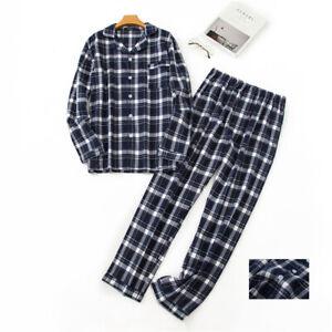 Mens 100% Cotton Flannel Pajamas Set Shirts&Pants Suits Sleepwear Loungewear Pjs