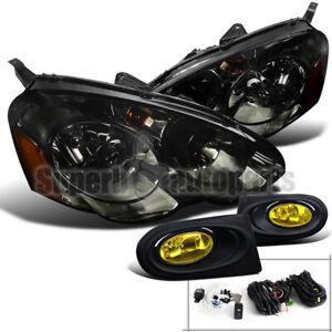 For 2002-2004 Acura RSX Diamond Smoke Head+Type-S Driving Fog Lights