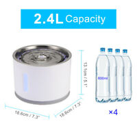 2.4L Automatic LED Pet Cat Dog Drinking Water Stainless Steel Fountain Bowl