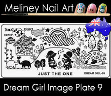 Dream Girl 9 Stamping Nail Art Image Plate Design Rectangle XL Stencil metal