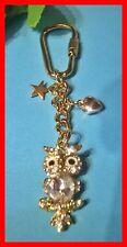 Zauberhafte Strass Eule Schlüsselanhänger Taschenanhänger goldfarben NEU  (D287)