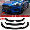 3PCS Glossy Black Front Bumper Lip Spoiler Splitter For Ford Focus ST 2019