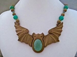 CHALCEDONY~WOOD JASPER BAT PENDANT AND MULTI~BEADED NECKLACE ~ AWESOME!