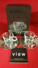 New Nespresso View Collection Espresso Cups and Stainless Steel Saucers set of 2