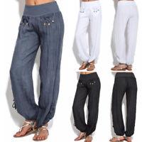 Women Loose High waist Cotton Linen Harem pants Solid Women Fashion Casual Pants
