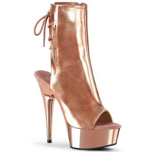 """Sexy rose gold chrome 6"""" open toe boots"""