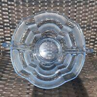 Vintage Art Deco Large Heavy Pressed Glass Pale Light Blue Fruit or Serving Bowl