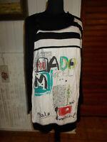 Robe tunique bi-matieres stretch  MADO ET LES AUTRES t.4 44/46 noir devant blanc
