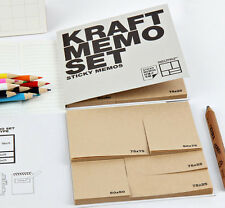 Kraft Memo Set - Book of Sticky Notes - 4 Sizes Notes - Memo Pad Book - Post it