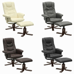 Ergonomic Back Armchair Faux Leather Swivel Recliner Reclining Sofa Office Chair