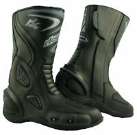 LV14 Motorcycle Motorbike Black Leather Water resistant Winter Race Boots