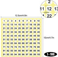 1-100 Number Stickers 10mm Small Round Self-Adhesive Inventory Label White