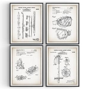 Skiing Set of 4 Patent Prints Blueprint Decor Vintage Poster Wall Art Gift