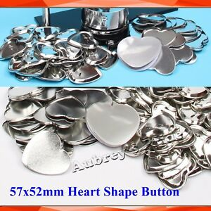 100 Sets Heart Shape 57x52mm Blank Pin Back Metal Badge Button Maker