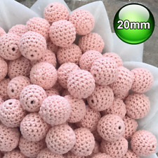10 x Crochet wood beads 20mm Peach wooden teething baby safe jewellery