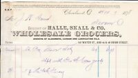 U. States Cleveland 1878 Halle, Skall & Co. Wholesale Grocers Receipt Ref 38597