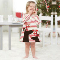 Toddler Kids Baby Girls Xmas Long Sleeve Princess Dress Outfits Clothes Dresses