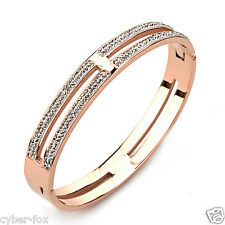 Rose Gold With Double Crystals Womens Stainless Steel Bangle Bracelet Gift