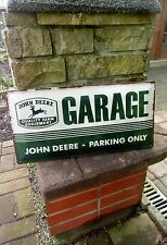 JOHN DEERE GARAGE /PARKING ONLY  Official LARGE Metal Wall Sign - 19.75 inches !