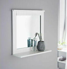 MAINE White Bathroom Wood Frame Mirror Wall Mounted with Cosmetics Shelf