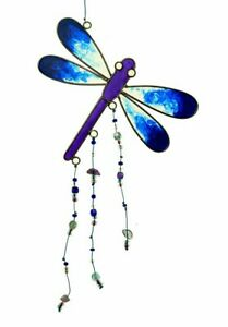 Dragonfly SunCatcher Hanging Length 22 cm STAINED GLASS EFFECT With Beads