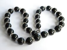 Victorian WHITBY JET necklace round beads ~crystals ~27g~