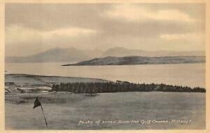 PEAKS OF ARRAN FROM GOLF COURSE MILLPORT SCOTLAND UK POSTCARD (c. 1930s)