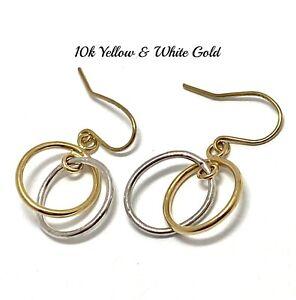 "10k Yellow & White Gold 1"" Long Earrings Beautifully Dainty"