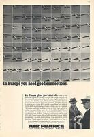 1966 Air France Airlines PRINT AD Jet Flying In Europe Great Vintage Decor