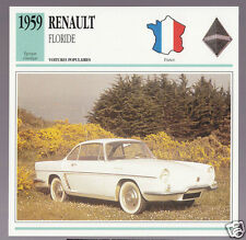 1959 Renault Floride Florida Car Photo Spec Sheet Info Stat French Atlas Card