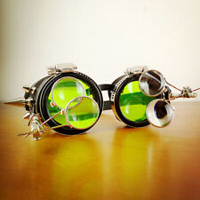 Antique Steampunk Goggles with Magnifying Lenses Welding Glasses Green Lens