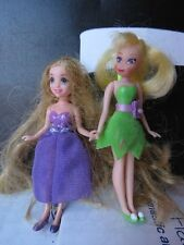 Disney Polly Pocket Size Modern Dolls Rapunzel Long Hair and Tinkerbell