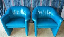 Vintage Miami Blue Leather Chairs Metropolitan Furniture Co. 1987 Jules Heumann