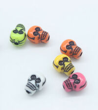 10x Mexican Day Of The Dead Sugar Skull Colourful Beads