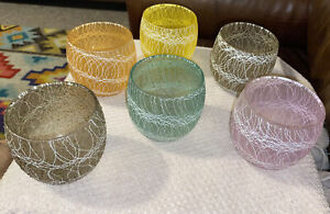 Vintage COLOR CRAFT Spaghetti String ROLY POLY Tumblers MID-CENTURY Bar Ware