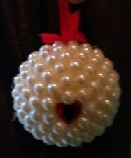 Country Cottage Christmas Holiday Handcrafted Red Heart Pearl Ornament - New