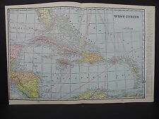 Map, West Indies, 1899 George F. Cram Double Sided S4#04