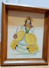 M. Wall signed Colonial figure mid century watercolor painting framed EC!