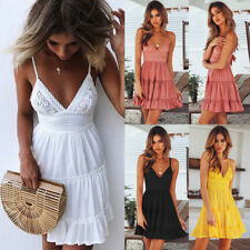 Sexy Womens Summer Straps Ruffled Bodycon Dress Ladies Party Short Mini Dress AU