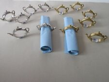 6 Thick Silver or Gold Metal Tea Pot Napkin Holders / Rings