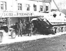 WW 2-Broken Down Tank in Snow Outside Hotel Des Ardennes Belgium-1944 Photo