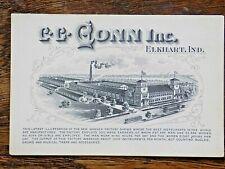 Antique Trade Card CG Conn Brass Trombone Trumpet Cornet Horn Elkhart USA Map
